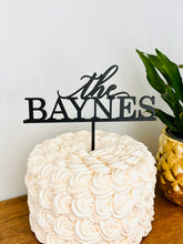 "Load image into Gallery viewer, Personalized The Last Name Cake Topper, 6""W (Version 2)"