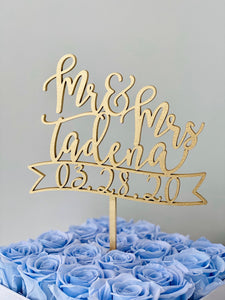 "Personalized Mr & Mrs Last Name Date Banner Cake Topper, 6""W"