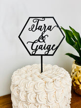 "Load image into Gallery viewer, Personalized Hexagon 2 Names Cake Topper, 5""W"