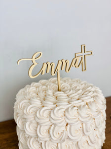 "Personalized Name with Cross Cake Topper, 6""W"