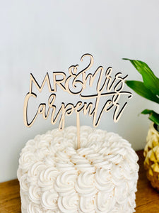 "Personalized Mr & Mrs Last Name Cake Topper, 6""W (Version 3)"