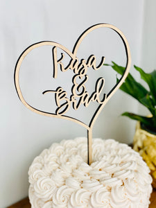 "Personalized Heart Name Cake Topper, 6""W"