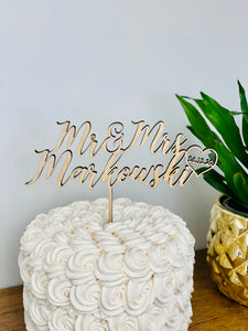 "Personalized Mr & Mrs Name Date Cake Topper, 6""W"