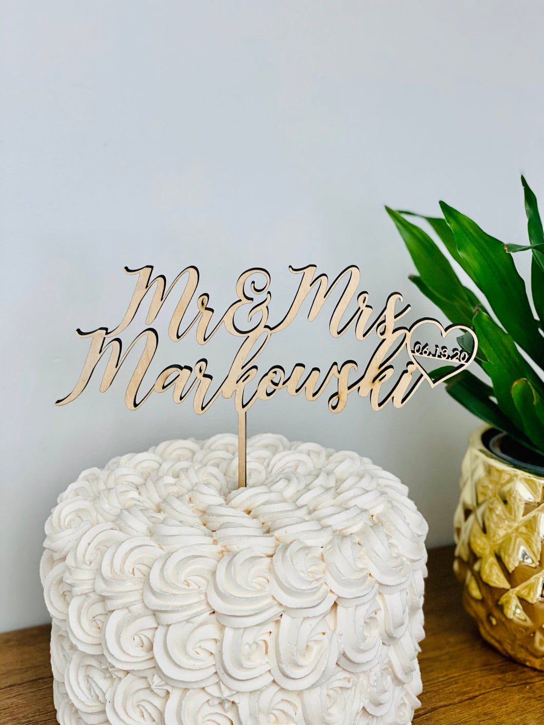 Personalized Mr & Mrs Name Date Cake Topper, 6