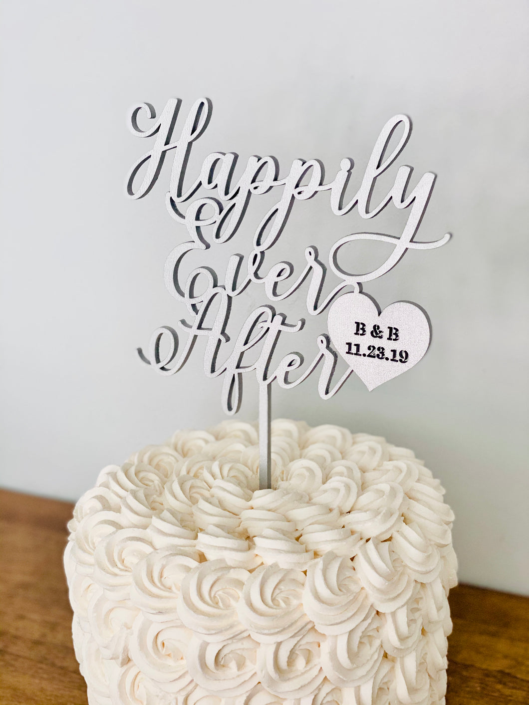 Personalized Happily Ever After Heart Initials & Date Cake Topper, 6