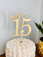 "Load image into Gallery viewer, Mis 15 Cake Topper, 5""W"