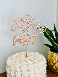 "Personalized You're my Lobster Date Cake Topper, 6""W"