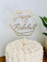 "Load image into Gallery viewer, Personalized Hexagon Names Cake Topper, 5""W (Version 2)"