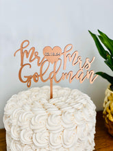"Load image into Gallery viewer, Personalized Mr Heart Mrs Name Cake Topper with Date, 6""W"