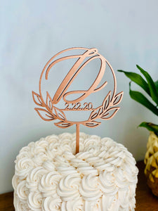 Personalized Initial Date Circle Half Wreath Cake Topper, 5""