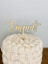 "Load image into Gallery viewer, Personalized Name with Cross Cake Topper, 6""W"