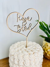 "Load image into Gallery viewer, Personalized Heart Name Cake Topper, 6""W"