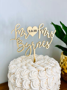 "Personalized Mr Heart Mrs Name Cake Topper with Date, 6""W"