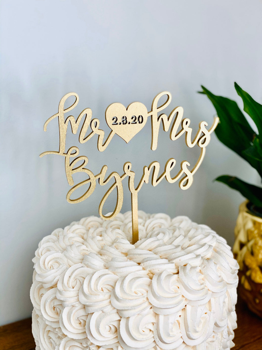 Personalized Mr Heart Mrs Name Cake Topper with Date, 6