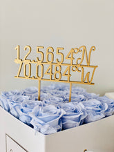 "Load image into Gallery viewer, Personalized Coordinates Cake Topper, 5""W"