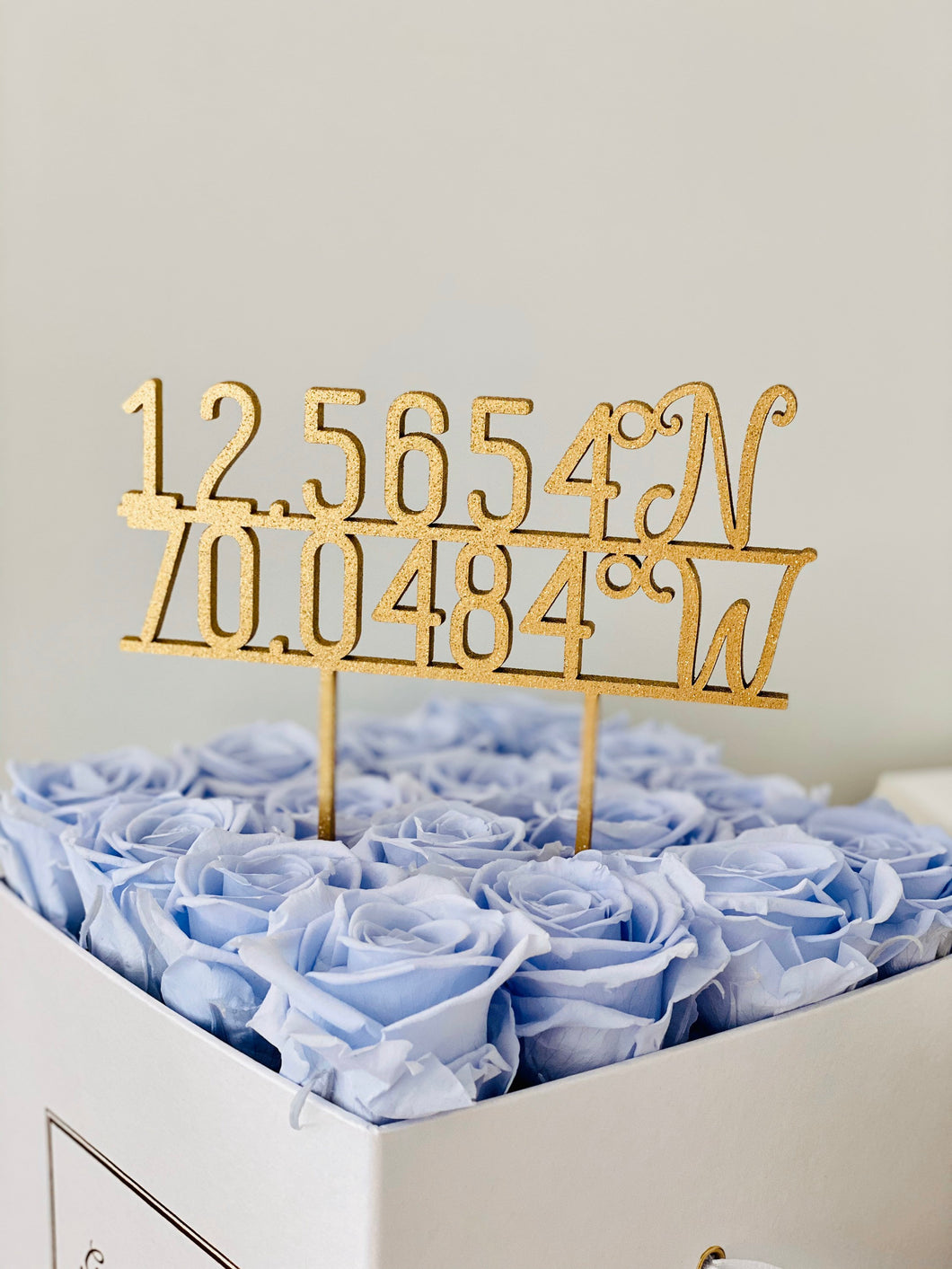 Personalized Coordinates Cake Topper, 5
