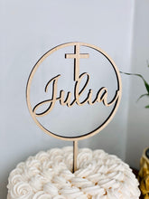 "Load image into Gallery viewer, Name with Cross Circle Cake Topper, 5""D"