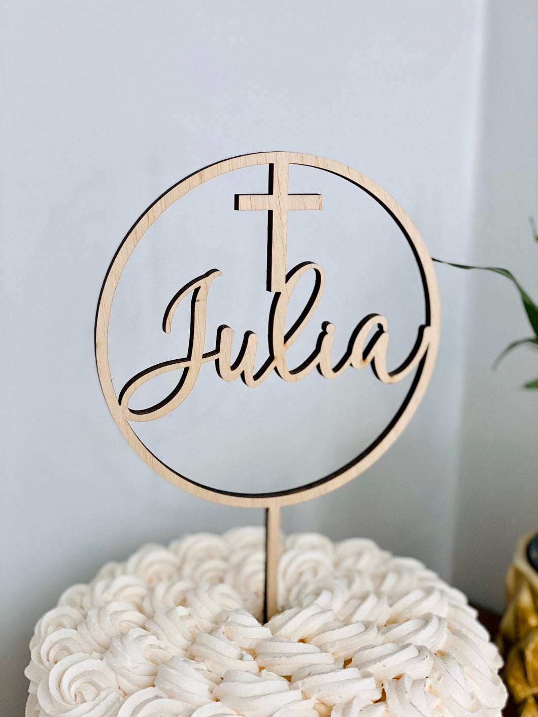 Name with Cross Circle Cake Topper, 5