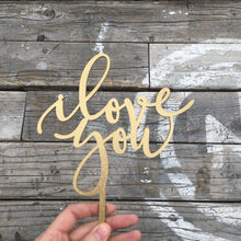 "Load image into Gallery viewer, I Love You Cake Topper, 5""W"