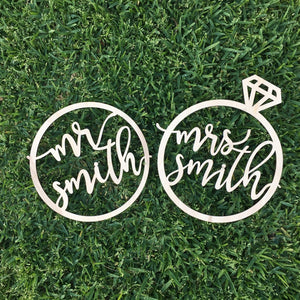 "Personalized Mr & Mrs Ring Chair Signs, 10""D"