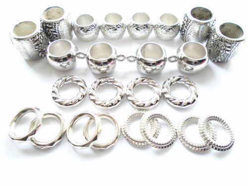 24pcs Silver Plated Scarf Rings Beads Variety