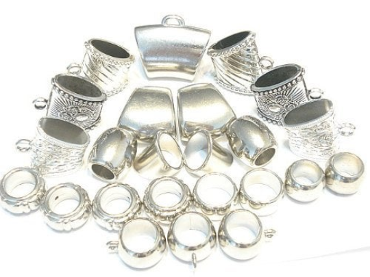 25 Pieces Silver Tone Scarf Jewelry Bails Rings Wholesale S362