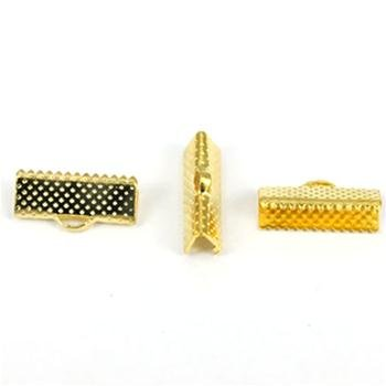 Textured Gold Tone Ribbon Bracelet Bookmark Pinch Crimp Clamp End Findings Cord Ends-8mm ZX1024