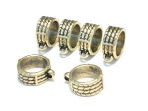 10pcs Long Jewelry Beads Tubes with Large Opening Acrylic Silver Scarf Rings Scarf Accessory