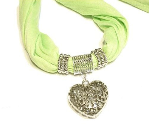Floral Heart Pendant with Green Long Scarf Sold Whole Set Ideal Valentine's Day Gift Delivery Time 3 To 5 Days