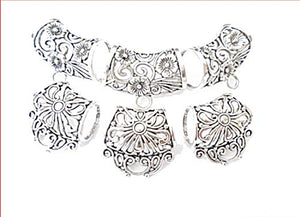 Fashion Jewelry Zinc Alloy Silver Floral Scarf Bails Charm Pendant Accessories 3 Styles Sold 6pcs S02283