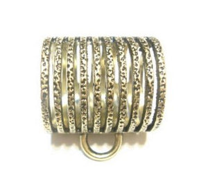 Scarf Jewelry Tube Striped Metal Bronze Slide Bail , Sold 3pcs US Seller Receive In 4 Days