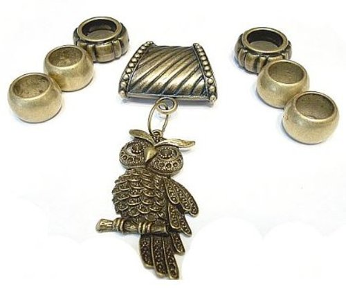 Bronze Bail Rings W/ Owl Pendant CCB Charm Pendants Scarf Accessory Sold 8pcs Delivery 3 To 5 Days