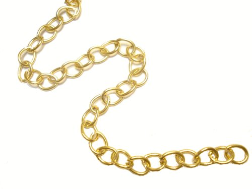 Fashion Jewelry 32ft Gold Plated Open Cable Link Steel Metal Chain 8.3X6.8mm, Thick 1mm
