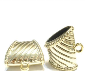 6pcs Striped Scarf Bails Acrylic Ring Charm Pendants Accessory