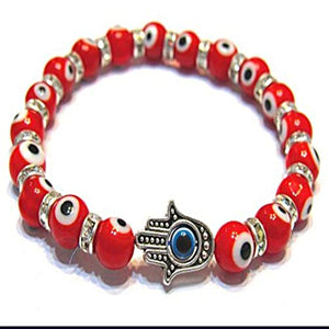 Corebead Evil Eye Protection Bracelet, Red with Turkey Hamsa Hand