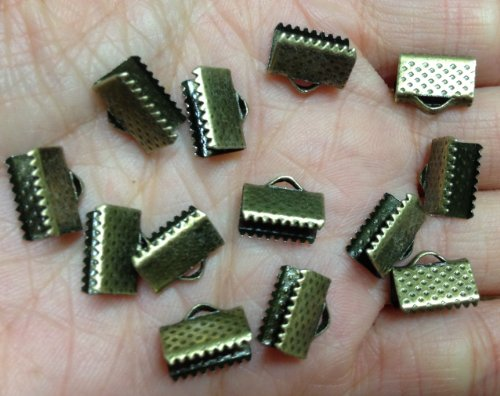 50 Piece Antiqued Bronze 10mm Ribbon Ends Ribbon Clamps [Office Product]