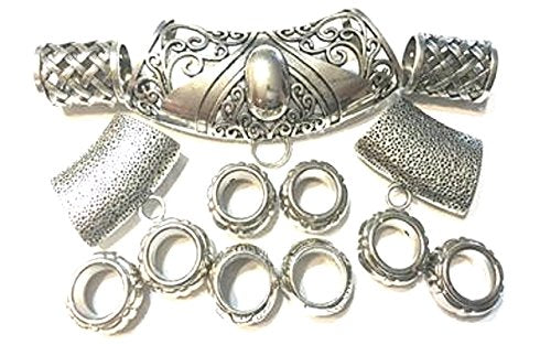 18pcs Silver Plated Scarf Bails Rings CCB Pendant Tubes Accessories