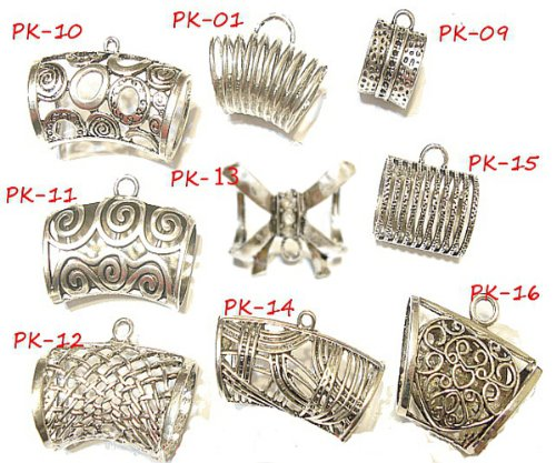 Metal Scarf Bails Wholesale 18pc Scarf Bails Tubes Slides Hange On Scarf Pendants