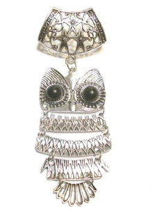 Scarf Jewelry Silver Tone Metal Owl Pendant, Receive in 4 Days
