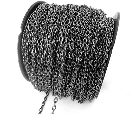 328 Feet Fashion Jewelry Small Curb Cross Cable Chain, Gunmetal Black Link (100 meter)