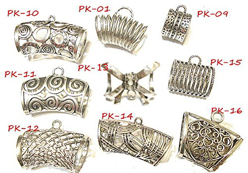 COREBEAD 18pcs MetalSilver Fashion Scarf Slides Bails Pendant Scarf Accessory 2- 4 Days