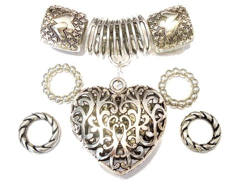 Shinning Scarf Jewelry Pendants 6 Design for Decorate Scarfs, Sold Per Set (Unscented, 1. Heart Pendant)
