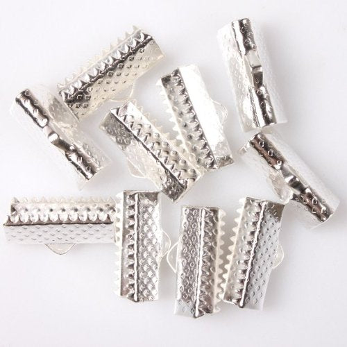 Textured Silvery Ribbon Bracelet Bookmark Pinch Crimp Clamp End Findings Cord Ends (100) 16x7mm
