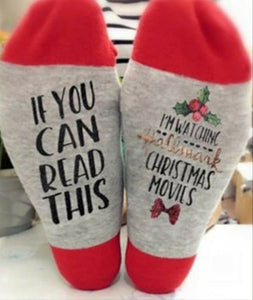 "Christmas Socks ""If you can read this, I am watching Hallmark Christmas Movie"""