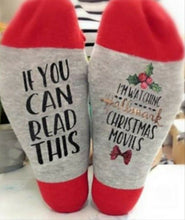 "Load image into Gallery viewer, Christmas Socks ""If you can read this, I am watching Hallmark Christmas Movie"""