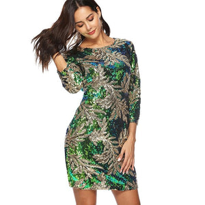 Women Sequin Dress Sequined Glitter Long Sleeves Christmas Party
