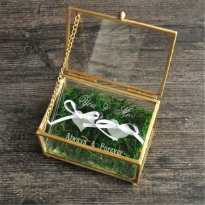 You & Me Always Forever Rusty Wedding Ring Box Glass Bearer Box