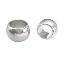 Load image into Gallery viewer, 12 Bright Silver Scarf Jewelry Beads Rings Loose Beads Plain Silver S02395