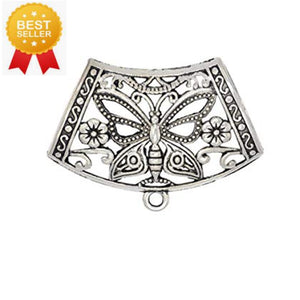 6pcs Scarf Clips Tubes Alloy Silver Butterfly Slide S0406
