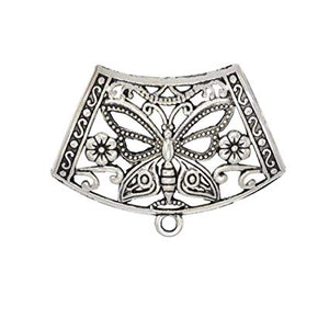 6pcs Scarf Clips Tubes Alloy Silver Butterfly Slide Pendant Scarf Necklace Accessory